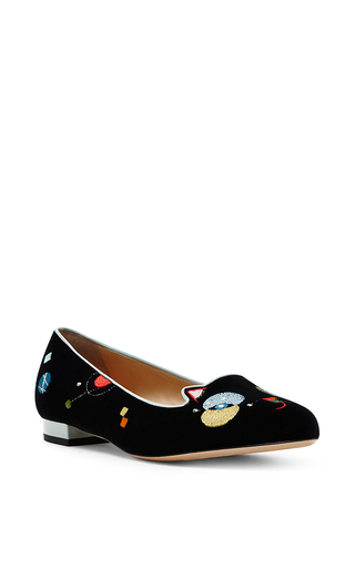 Black velvet abstract kitty flats by CHARLOTTE OLYMPIA Now Available on Moda Operandi