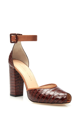 Renee croc embossed calf leather pumps by CHARLOTTE OLYMPIA Now Available on Moda Operandi
