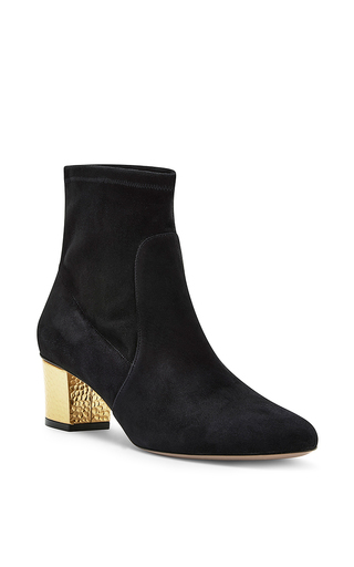Winnie black suede gold heeled boots by CHARLOTTE OLYMPIA Now Available on Moda Operandi