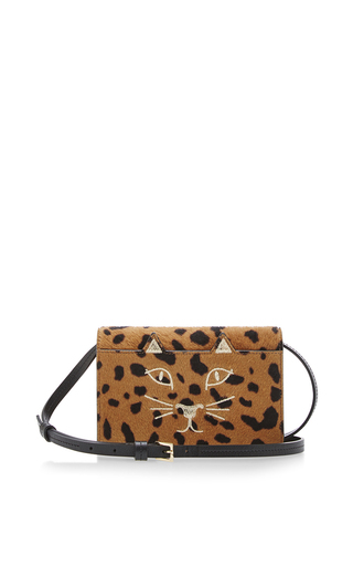 Calf leather hyena feline cross body bag by CHARLOTTE OLYMPIA Available Now on Moda Operandi