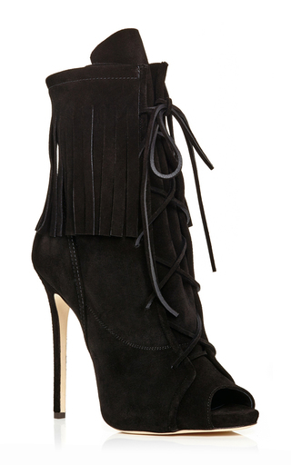 Black fringed suede peeptoe boots by GIUSEPPE ZANOTTI Available Now on Moda Operandi
