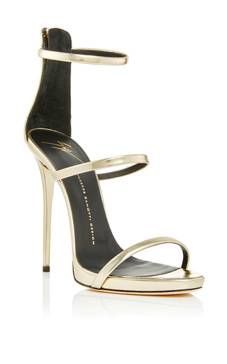 Shooting platinum three strap sandals  by GIUSEPPE ZANOTTI Now Available on Moda Operandi