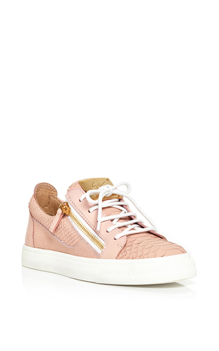 Rose pink leather golia sneakers by GIUSEPPE ZANOTTI Now Available on Moda Operandi