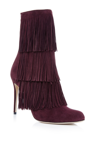 Toas red kidskin fringed boots by PAUL ANDREW Now Available on Moda Operandi