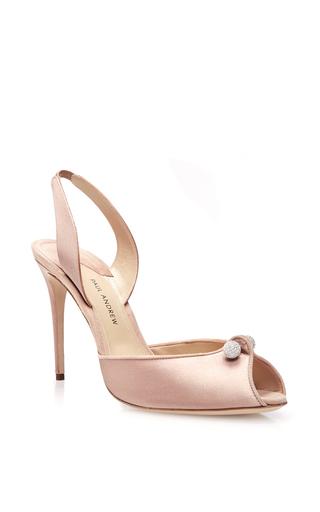 Blush silk satin orbital slingback heels by PAUL ANDREW Now Available on Moda Operandi