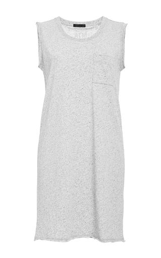 Gray crew neck dress with pocket  by ATM Now Available on Moda Operandi