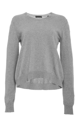 Heather gray hi/lo crew neck sweater  by ATM Now Available on Moda Operandi