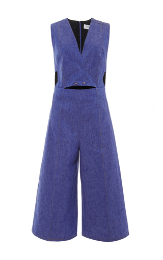 Denim v neck saddle studded jumpsuit  by DEREK LAM 10 CROSBY Now Available on Moda Operandi