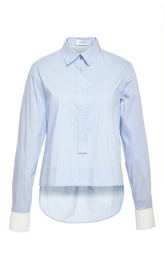Blue long sleeve henley with back tail  by DEREK LAM 10 CROSBY Now Available on Moda Operandi