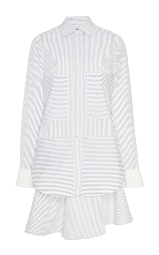Cotton blend shirt dress with ruffle skirt by DEREK LAM 10 CROSBY Now Available on Moda Operandi