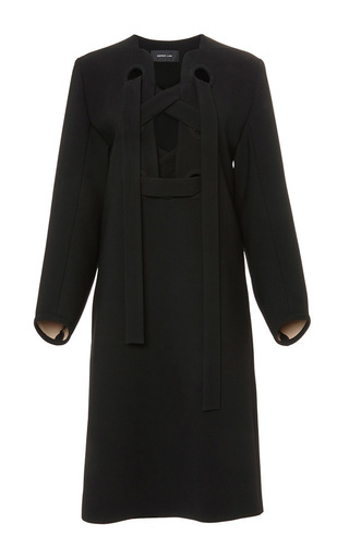 Black lace up shift dress with full sleeves  by DEREK LAM Available Now on Moda Operandi