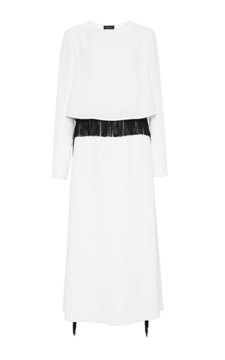White three quarter sleeve gown with black fringe trim  by DEREK LAM Available Now on Moda Operandi