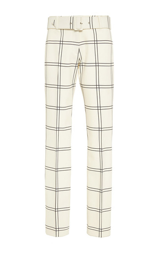 Ivory crop pants with belt  by DEREK LAM Available Now on Moda Operandi