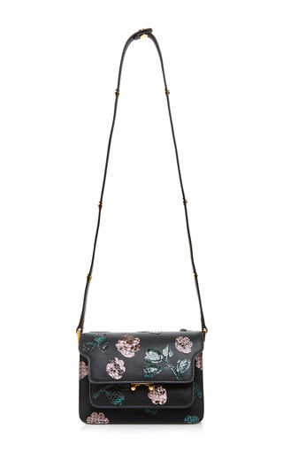 Calf leather shoulder bag with python floral embellishments by MARNI Now Available on Moda Operandi