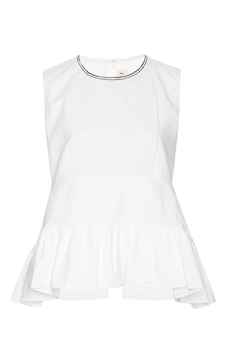 White cotton ruffled sleeveless blouse by MARNI Now Available on Moda Operandi
