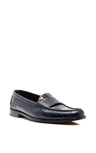 Navy calfskin croc embossed loafers by PROENZA SCHOULER Now Available on Moda Operandi