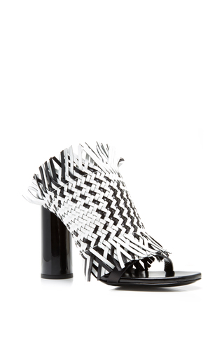 Black and white woven calfskin mules by PROENZA SCHOULER Now Available on Moda Operandi