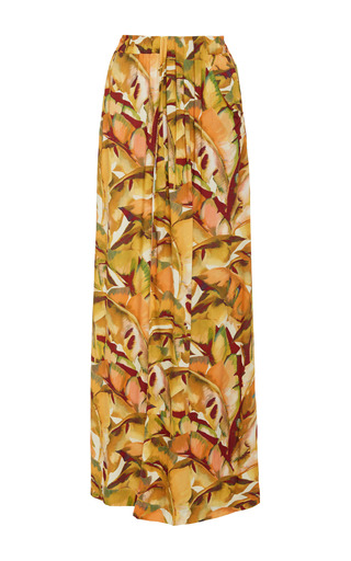 Tropical print maxi skirt by AGUA DE COCO Now Available on Moda Operandi
