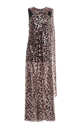 Silk pebble floor length metallic gown by PRABAL GURUNG Available Now on Moda Operandi