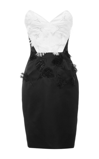 Silk strapless feather cocktail dress by PRABAL GURUNG Now Available on Moda Operandi