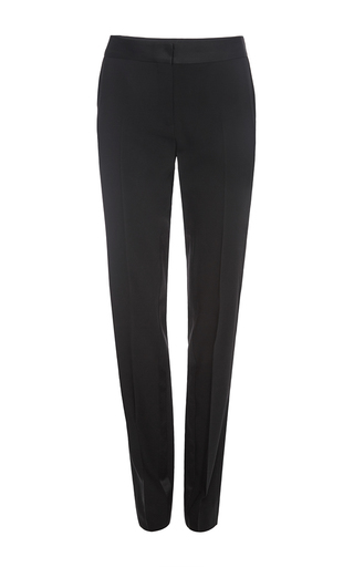 Black wool classic straight leg pants by PRABAL GURUNG Now Available on Moda Operandi