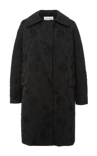 Black embellished collar mid length coat by PRABAL GURUNG Available Now on Moda Operandi