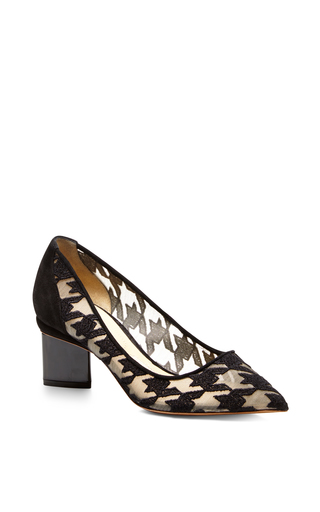 Black houndstooth prism lace pump  by NICHOLAS KIRKWOOD Available Now on Moda Operandi