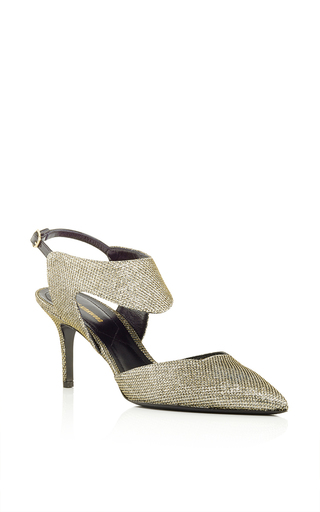 Gold platino lurex leda cutout pumps by NICHOLAS KIRKWOOD Now Available on Moda Operandi