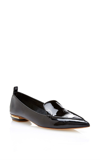 Black patent pointed toe loafers by NICHOLAS KIRKWOOD Now Available on Moda Operandi