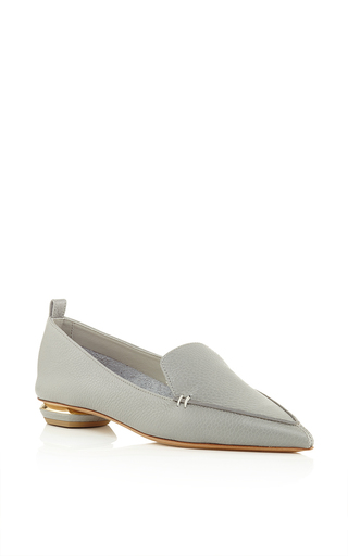 Grey leather botalatto flat loafers by NICHOLAS KIRKWOOD Now Available on Moda Operandi