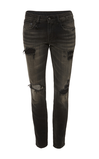 Shredded black alison cropped jeans by R13 Now Available on Moda Operandi