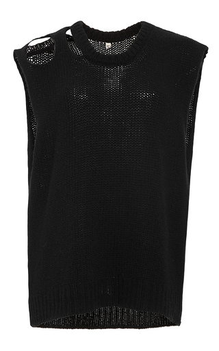 Black sleeveless cashmere sweater by R13 Now Available on Moda Operandi