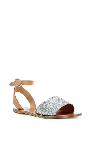 Silver and natural thalpori ankle strap sandals by ANCIENT GREEK SANDALS Available Now on Moda Operandi