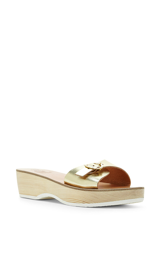 Filia platinum leather single strap clogs by ANCIENT GREEK SANDALS Now Available on Moda Operandi