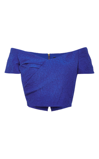Blue cropped off the shoulder karolina top by SALONI Now Available on Moda Operandi
