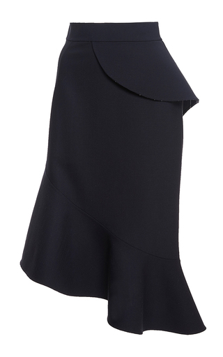 Navy virgin wool ruffle midi skirt by OSCAR DE LA RENTA Now Available on Moda Operandi