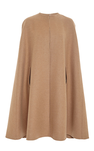 Tan camel hair and wool cape by OSCAR DE LA RENTA Available Now on Moda Operandi
