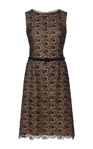 Floral lace cotton day dress by OSCAR DE LA RENTA Available Now on Moda Operandi