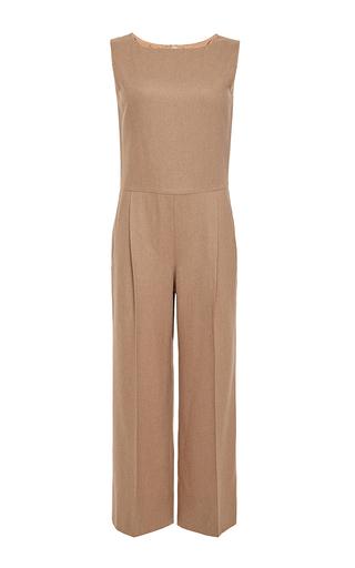Camel wool sleeveless cropped jumpsuit by OSCAR DE LA RENTA Available Now on Moda Operandi