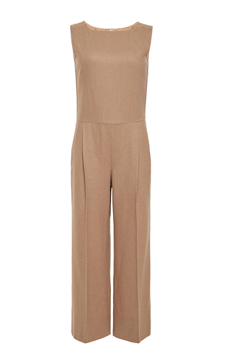Camel wool sleeveless cropped jumpsuit by OSCAR DE LA RENTA Now Available on Moda Operandi