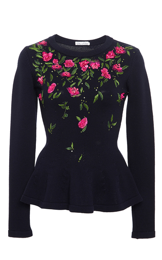 Navy Virgin Wool Peplum Floral Top by OSCAR DE LA RENTA Now Available on Moda Operandi