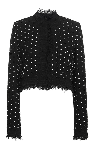 Cropped jacket with dot overlay by OSCAR DE LA RENTA Now Available on Moda Operandi