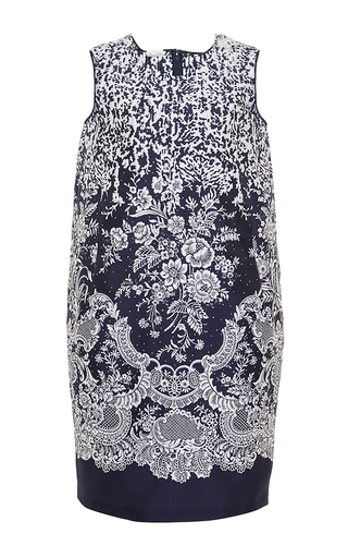 Shift printed day dress with pocket  by OSCAR DE LA RENTA Now Available on Moda Operandi