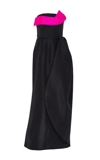 Navy pink silk strapless evening gown by OSCAR DE LA RENTA Available Now on Moda Operandi