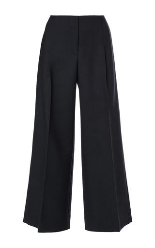 Navy wool cropped wide legged pants by OSCAR DE LA RENTA Available Now on Moda Operandi
