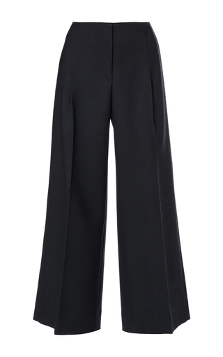Navy wool cropped wide legged pants by OSCAR DE LA RENTA Now Available on Moda Operandi