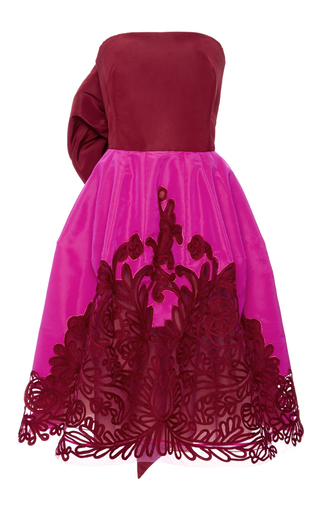 Pink and red silk faille cocktail dress with embroidered overlay by OSCAR DE LA RENTA Now Available on Moda Operandi