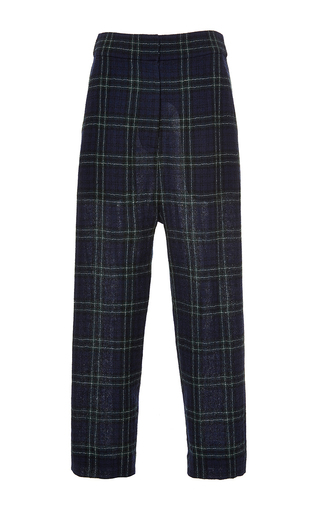 Navy wool plaid loose cropped trousers by ROSETTA GETTY Now Available on Moda Operandi