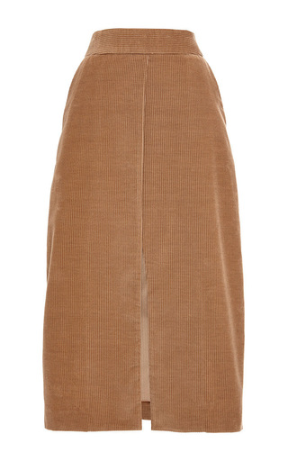 Cotton cashmere corduroy slit pencil skirt by ROSETTA GETTY Now Available on Moda Operandi