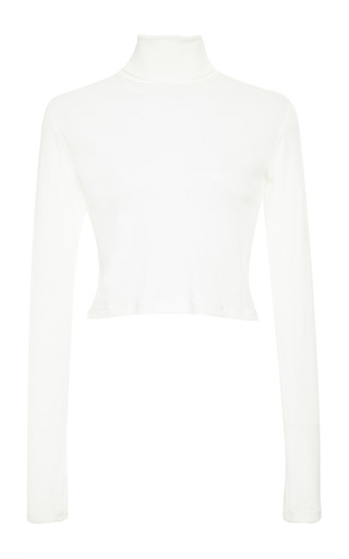 Ivory cotton cropped long sleeve turtleneck by ROSETTA GETTY Now Available on Moda Operandi